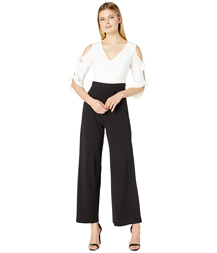 Donna Morgan  Long Tie-Sleeve Stretch Crepe V-Neck and Contrast Color Jumpsuit (Black/Ivory) Womens Jumpsuit and Rompers One Piece