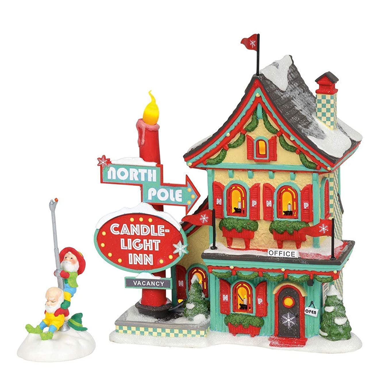Department 56 North Pole Village Series Welcoming Christmas Candle-Light Inn Lit Building and Accessory, 7.01