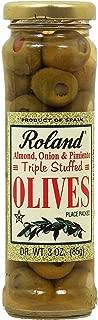 Roland Triple Stuffed almond, onion & pimiento green olives, 3-oz. glass jar