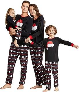 Yaffi Family Matching Pajamas Set Christmas Festival Outfits Two Pieces Santa Hat Printed Sleepwear Loungewear PJs