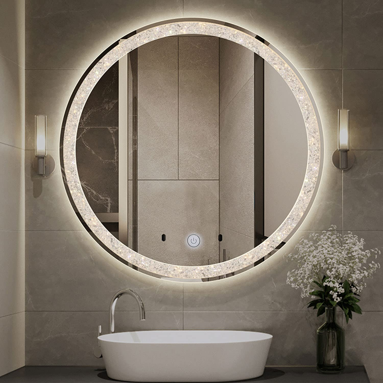 Phoenix Mall online shopping Chende Crystal LED Bathroom Mirror Round Mirro 28 Inches Makeup