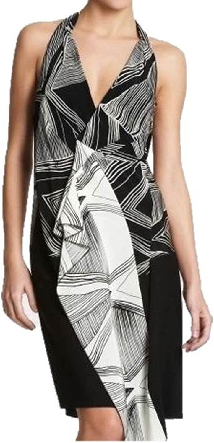 Bcbg Max Azria Runway Wrap Halter Top Dress, Black Combo