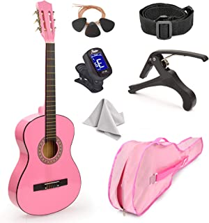 "30"" Wood Classical Guitar with Case and Accessories for Kids/Girls/Boys/Beginners (Pink)"
