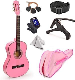 """جدید! 30 """"گیتار چوب صورتی با کیف و لوازم جانبی هدیه عالی برای کودکان / دختران / مبتدیان (استاندارد)"""