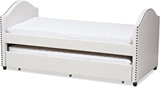 Baxton Studio Zosime Faux Leather Daybed with Guest Trundle Bed, Twin, White