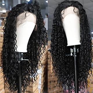 Loose Curly Synthetic Lace Front Wigs for Women Long Glueless Hair 26 inches Natural Black Color Hair Natural Black Color Hair