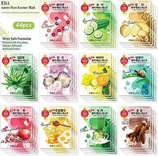 {EBA NATURE} 44 Pcs Combo-Pack, Premium Korean Pure Essence Facial Mask Sheet (11 Types x 4 pcs), Five Chemical Free : No ...