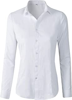 Women's Basic Long Sleeve Button Down Shirts Work Wear