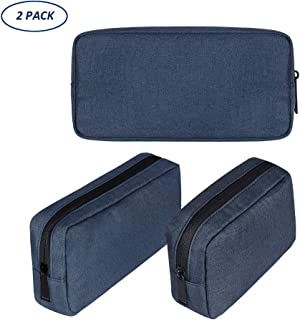 Jhdstore Multifunction Travel Gear Organizer Electronics Accessories Bag, Small Gadget Carry Case Storage Bag Pouch for Charger USB Cables SD Memory Cards Earphone Flash Hard Drive(2-Pack) (Navy Blue)