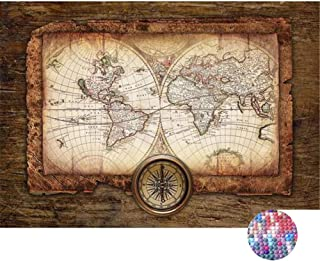 LIPHISFUN DIY 5D Diamond Painting by Number Kit for Adult, Full Round Resin Beads Drill Diamond Embroidery Dotz Kit Home Wall Decor,30x40cm,World Map