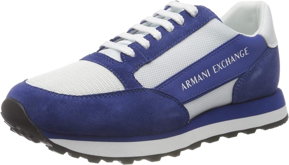 Armani exchange osaka running,scarpe sneakers per uomo,in pelle e tela XUX083B