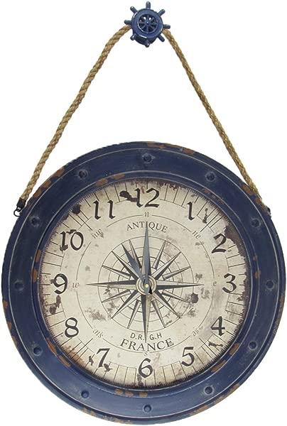 TreasureGurus LLC Large 23 Nautical Rose Compass Wall Clock Rustic Beach House Coastal Home Decor