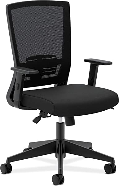 HON Entire Mesh Task Chair High Back Work Chair With Adjustable Arms Black HVL541