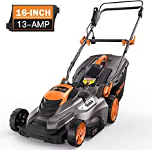 TACKLIFE Lawn Mower, 16-Inch 13-Amp Electric Lawn Mower, 5 Adjustable Mower Heights, Adjustable and Foldable Handlebars, Low Noise, Tool-Free Assembly, 13.2Gal Grass Box - KALM1540A