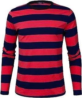 iClosam Camisetas TéRmicas para Hombre Rayas Cuello Redondo Manga Larga Tallas Grandes