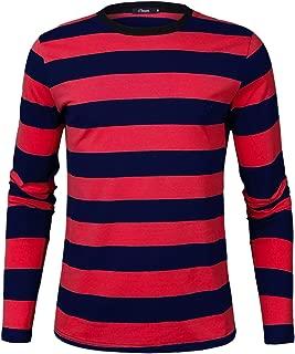iClosam Men's Crew Neck Basic Striped T-Shirt Long Sleeve and Short Sleeve Cotton Shirt