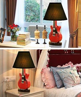 Aoemone Children's Room Table Lamp Cartoon Guitar Small Table Lamps Wooden Desk Lamp Bedroom Bedside Lamp American Simple