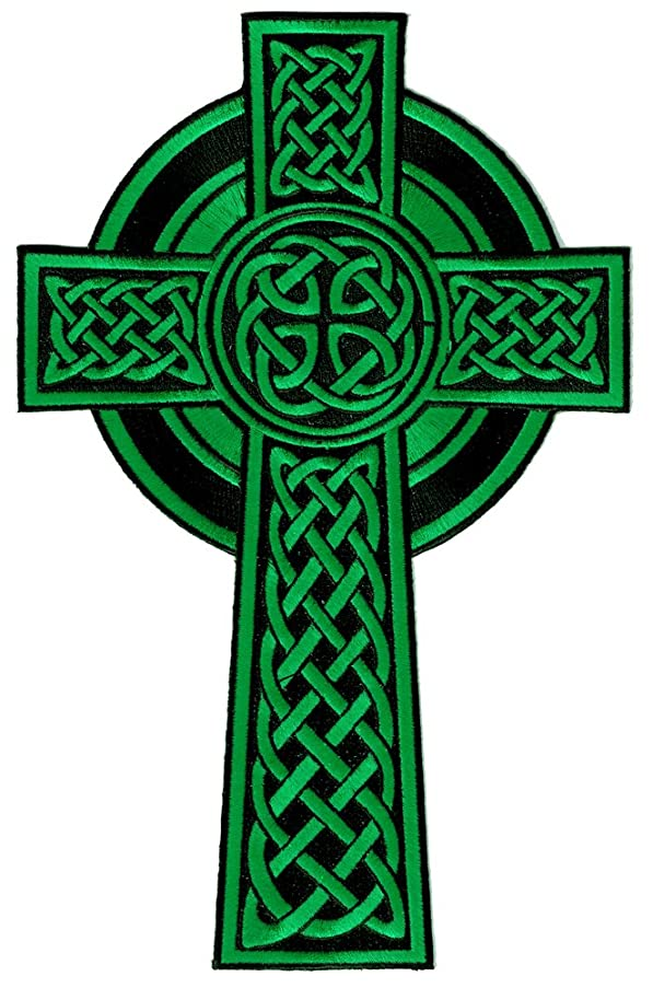 Celtic Cross Large Iron-On Patch Green Embroidered Relgious Gaelic Irish Crucifix