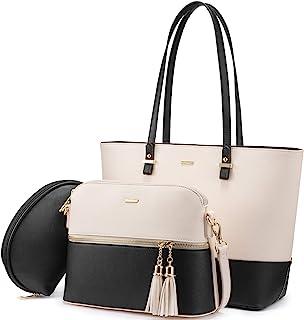LOVEVOOK Sac a Main Femme Sac Bandouliere Porte Monnaie Tote Bag 3 Pcs Grande Capacité