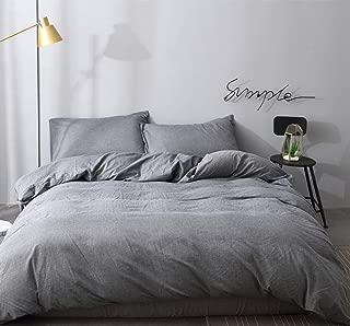 UEU Duvet Cover Set Queen Grey,100% Washed Cotton,Thread Count,Warmth,Soft Bedding with Zipper Closure Corner Ties(Gray, Queen)