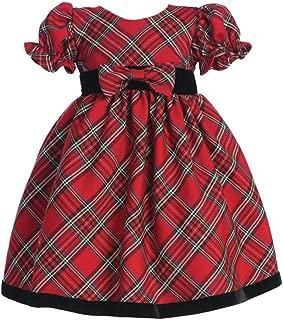 Plaid Holiday/Christmas Baby Dress with Velvet Trim