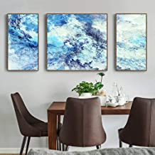 American Style, Porch/bedroom/interior Painting, Abstract Wave Pattern, PS Picture Frame, Waterproof Art Micro-spraying Process, Oil Painting Canvas Core, Set Of Three Pieces Well-made (Size : M)