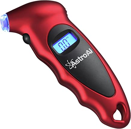AstroAI Digital Tire Pressure Gauge 150 PSI 4 Settings for Car Truck Bicycle with Backlit LCD and Non-Slip Grip, Red
