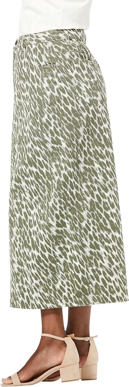Jessica London Women's Plus Size Classic Cotton Denim Long Skirt 100% Cotton