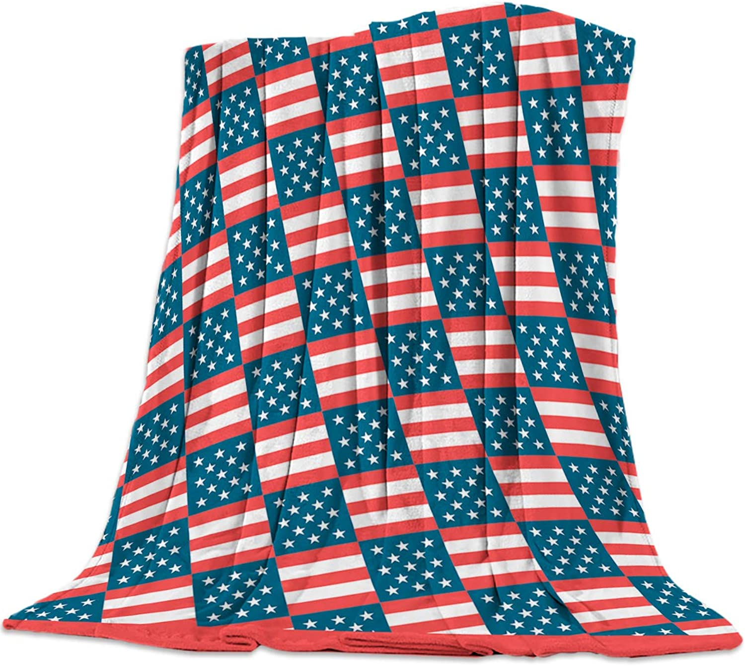 YEHO Art Gallery 49x59 Inch Flannel Fleece Bed Blanket Soft ThrowBlankets for Girls Boys,The USA Flag Star Stripe Pattern,Cozy Lightweight Blankets for Bedroom Living Room Sofa Couch