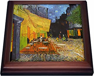 3dRose trv_155653_1 Cafe Terrace at Night by Vincent Van Gogh-1888-Restaurant French Street Painting Trivet with Ceramic Tile, 8 by 8
