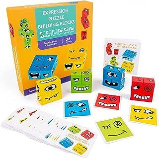 كتلة بناء الوجه C من بيبيبيسكي، لغز التعبير الخشبي، التفكير المنطقي التدريب بلوك لعبة الطاولة للآباء والأطفال للأولاد والب...