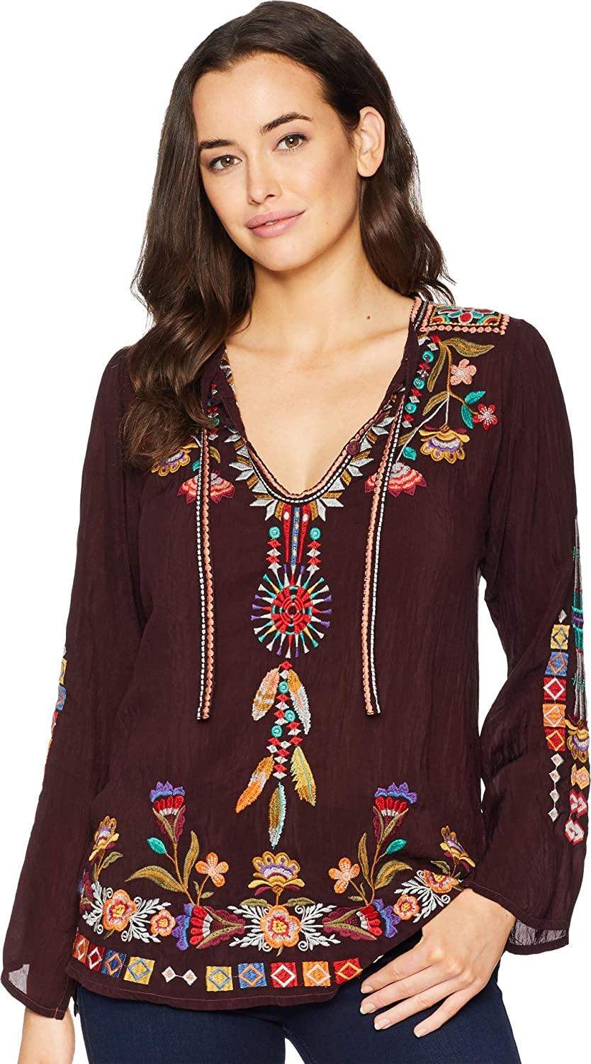 Johnny Was Womens Tie Neck Embroidered Blouse Blouse