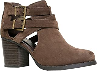 Room Of Fashion Women's Ankle Bootie with Low Heel and Cut-Out Side Design