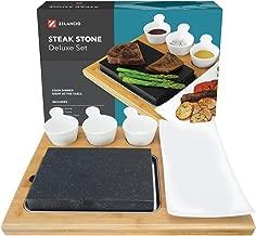 Zelancio Premium Lava Hot Stone Cooking Platter, Hot and Cold Lava Rock Cooking Stone Set, Hibachi Grilling Stone