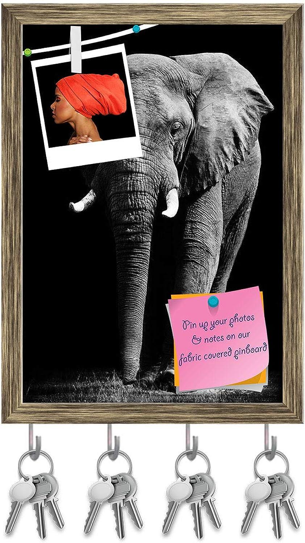 Artzfolio Large African Elephant Key Holder Hooks   Notice Pin Board   Antique golden Frame 10 X 14.1Inch