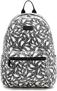 Fvstar Grey Feather Cute Teen Girls Backpack Purse Mini School Bag Canvas Travel Bags