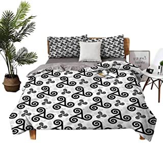 dsdsgog 3-Piece Bedding Set King Size Bed Lannel Sheet Queen Triskels Warriors Emblem no Irritation to The Skin W79 xL90 Zippered Quilt Cover and 2 Envelope Pillowcases