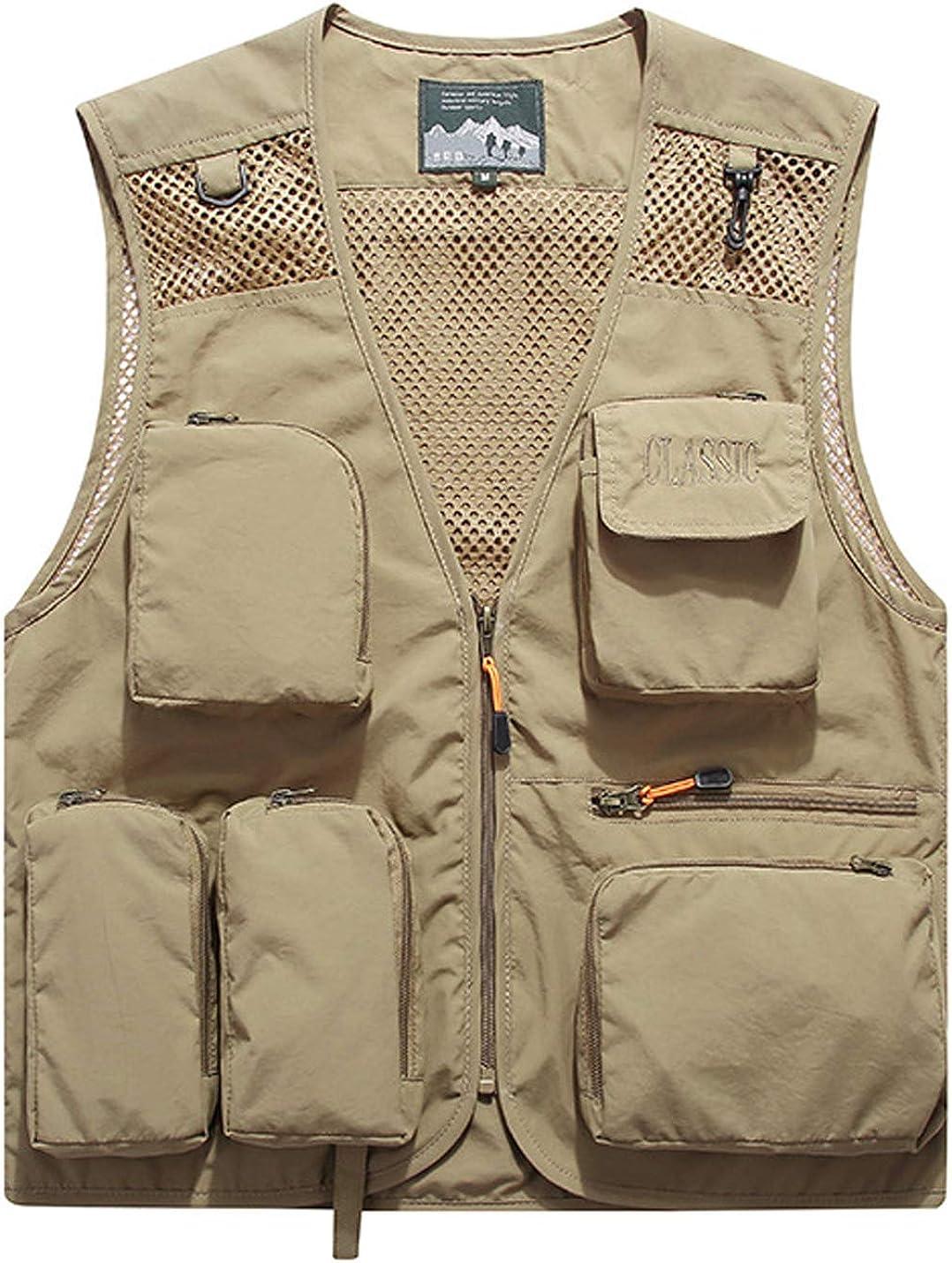 Yimoon Men's Outdoor Mesh Vest Fishing Travel Safari Quick-Dry Multi-Pocket Vest