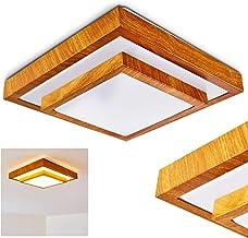 LED plafondlamp Sora, vierkante metalen plafondlamp in moderne houtlook, 18 Watt, 1380 Lumen, lichtkleur 3000 Kelvin (warm...