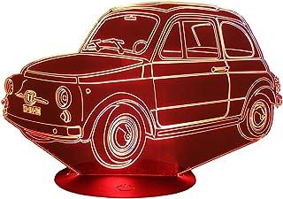 FIAT 500 TIPOLINO, Lampada illusione 3D con LED - 7 colori.