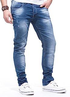 LEIF NELSON Herren Jeans Hose Slim Fit   Denim Blaue graue Lange Jeanshose für Männer   Coole Jungen weiße Stretch Freizeithose Schwarze Cargo Chino Sommer Winter Basic   LN271