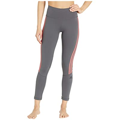 adidas Believe This High-Rise 3-Stripes 7/8 Tights (Grey Six/Shock Red) Women
