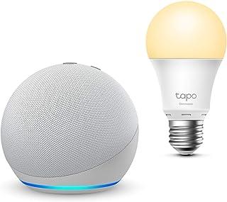 Der neue Echo Dot (4. Generation), Weiß + TP Link Tapo smart Lampe (E27), Funktionert mit Alexa