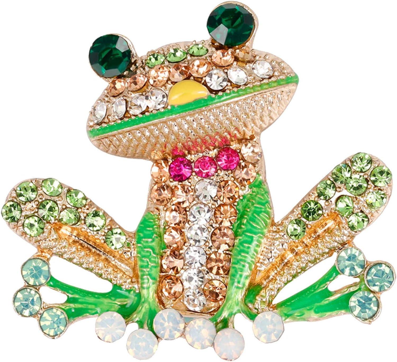 fublousRR5U Rhinestone Frog Shape Enamel Brooch Pin, Animal Shirt Collar Badge Corsage Decor