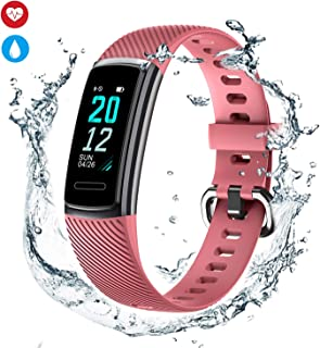 Fitness Tracker Watch for Women Men and Kids,Slim Pedometer Watch with Heart Rate Monitor, Smart Activity Wristband with Step Counter,Sleep Monitor & Alarm Clock,Gift Option-Pink