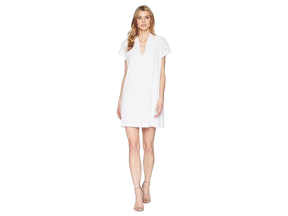Kenneth Cole New York V-Neck Tuck Dress (White) Women