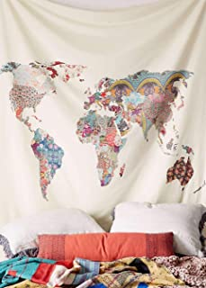 Floral World Map Wall Tapestry Headboard Wall Art Bedspread Dorm Tapestry Home Decor,60