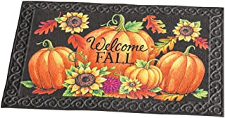Fall Harvest Skid-Resistant Front Door Welcome Mat, Festive Pumpkins, Leaves and Sunflowers Decor with Scrolling Pattern Border