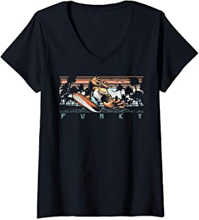 Womens Nintendo Donkey Kong Country Funky Kong Surf Tropical Poster V-Neck T-Shirt