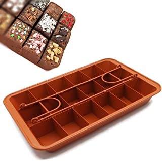 """Non-stick Chocolate Brownie Pan with Dividers, 18-cavity Rectangle Bakeware with Removable Loose Bottom, Heavy-duty Built-In Slicer Brownie Tray - 12.20"""" x 7.87"""" x 1.57"""